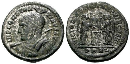 Ancient Coins - VF/VF Constantine I the Great Silvered Follis / Victories