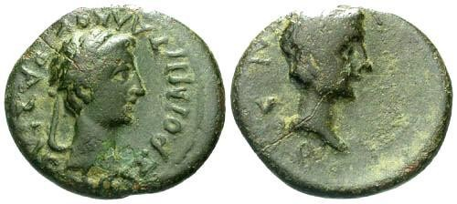 Ancient Coins - VF/gF Kings of Thrace Rhoemetalkes I and Augustus AE 23 / Dual Busts