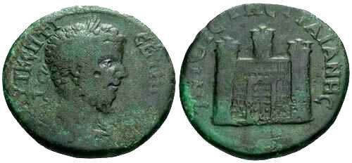Ancient Coins - gF/gF Septimius Severus AE29 / City gate