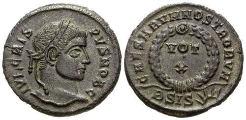 Ancient Coins - EF/aEF Crispus AE Follis / Votive