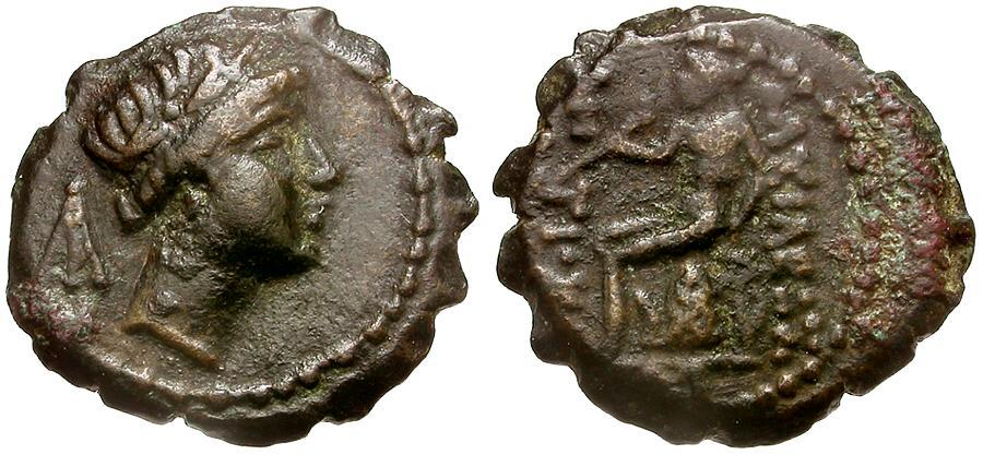 Ancient Coins - Seleucid Kings. Antiochos IV Epiphanes Æ14 Serrate / Apollo