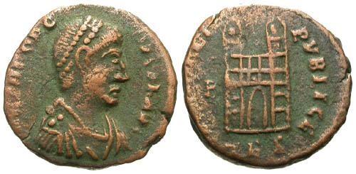 Ancient Coins - aVF/aVF Theodosius I AE4 / Campgate