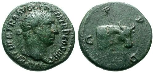Ancient Coins - Trajan Deultum AE Semis / Ox head