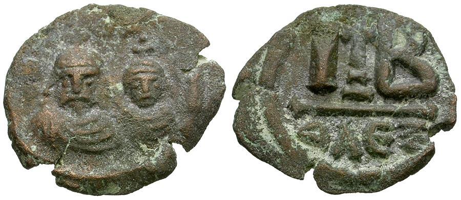 Ancient Coins - *Sear 853* Byzantine Empire. Heraclius (AD 610-641) with Heraclius Constantine Æ 12 Nummi