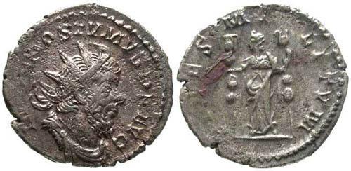 Ancient Coins - aVF/aVF Postumus Antoninianus / Fides Holding Standards