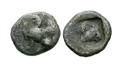 Ancient Coins - F/F Thrace Abdera AR Obol / Griffin & Eagle