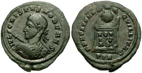 Ancient Coins - aVF/aVF Crispus Left Facing Bust / Altar