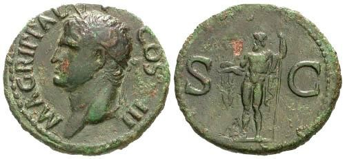 Ancient Coins - aVF/aVF Agrippa AS / Neptune holding dolphin and trident