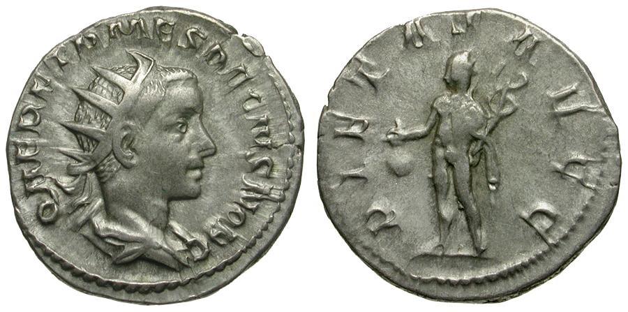Ancient Coins - Herennius Etruscus Caesar AR Antoninianus / Mercury