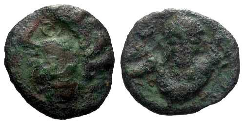 Ancient Coins - F+/VF Scarce Ambiani Bronze / Human Head