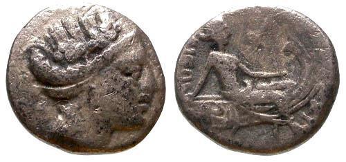 Ancient Coins - Histiaia Euboia AR Trihemiobol / Nymph