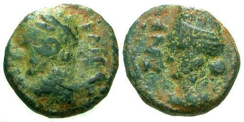 Ancient Coins - F/F Domitian Decapolis Canatha AE13 / Tyche