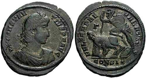 Ancient Coins - VF Constantius II, AE1, spearing horseman reverse