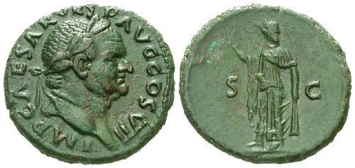 Ancient Coins - EF/VF Vespasian Copper As / Spes