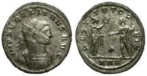 Ancient Coins - Aurelian Silvered Antoninianus / Victory and Emperor