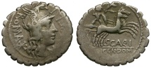 Ancient Coins - 118 BC - Roma Republic. L. Licinius Crassus and Cn. Domitius Ahenobarbus with M. Aurelius Scaurus AR Denarius / Celtic Warrior in Biga