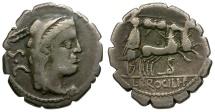 Ancient Coins - 80 BC - Roman Republic. L. Procilius AR Serrate Denarius / Juno Sospita