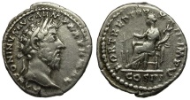 Ancient Coins - Marcus Aurelius AR Denarius / Fortuna Seated