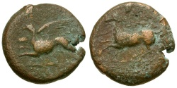 Ancient Coins - Sicily. Syracuse. Dionysos II Æ23 / Griffin