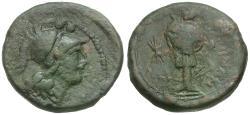 Ancient Coins - Apulia. Caelia Æ Sextans / Athena and Trophy