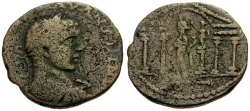 Ancient Coins - gF+/aVF Elagabalus, Phoenicia, Akko-Ptolemais Æ25 / Tyche in Temple, crowned by Nike