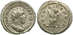 Ancient Coins - Philip I (AD 244-249) AR Antoninianus / Securitas Seated