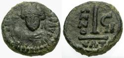 Ancient Coins - Byzantine Empire.  Maurice Tiberius Æ Decanummium / Catania Mint