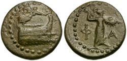 Ancient Coins - Lycia. Phaselis Æ19 / Prow & Athena