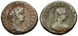 Ancient Coins - Nero (AD 54-68) with Poppaea. Egypt. Alexandria Billon Tetradrachm / Poppaea