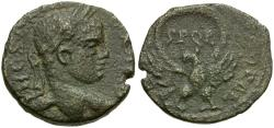 Ancient Coins - Severus Alexander (AD 222-235). Samaria. Caesarea Maritima Æ22 / Wreath and Eagle