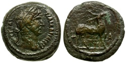 Ancient Coins - Hadrian. Egypt. Alexandria Æ Obol / Stag
