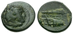 Ancient Coins - Kings of Macedon.  Alexander III The Great. Tarsos Mint Æ12 / Club and Bow in Case