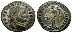 Ancient Coins - Constantius I as Caesar silvered Follis / Sacra Moneta