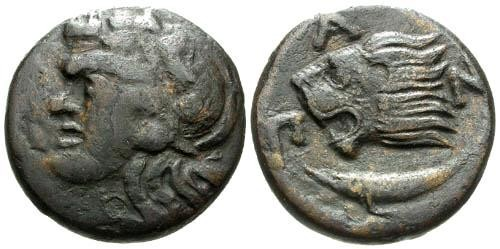 Ancient Coins - aVF/aVF Pantikapaion AE20 / Lion