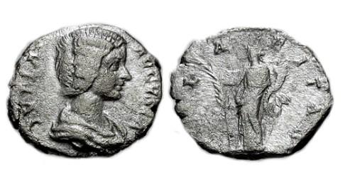 Ancient Coins - F+/VG Julia Domna AR Denarius / Hilaritas