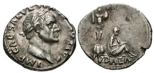 Ancient Coins - gVF/gVF Vespasian AR Denarius / Jewish captive