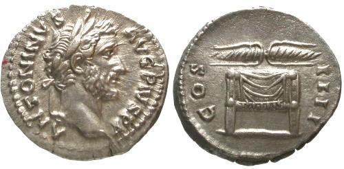 Ancient Coins - EF/EF FDC Superb Antoninus Pius AR Denarius / Winged thunderbolt on throne