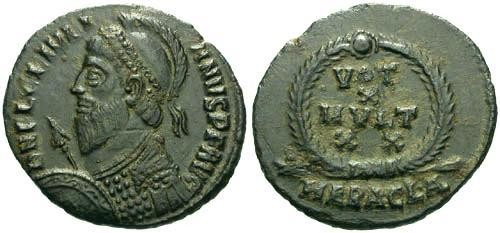 Ancient Coins - aEF/VF Julian the Apostate AE2 / Votive