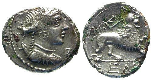 Ancient Coins - VF/VF Gaul Massalia AR Fouree Light Drachm or Tetrobol