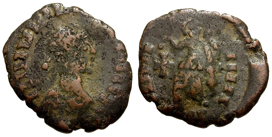 World Coins - Vandals.  Æ Nummus, with head of Valentinian / Victory