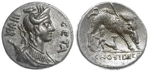 Ancient Coins - 68 BC EF/EF Hosidia 1 Roman Republic AR Denarius Calydonian Boar Dog