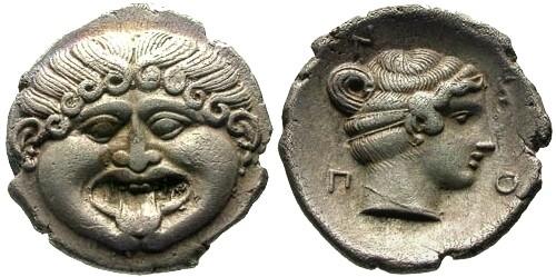Ancient Coins - EF/EF Macedon Neopolis AR Hemidrachm / Gorgon