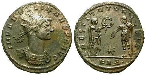 Ancient Coins - EF/EF Aurelian Antoninianus / Restitvt