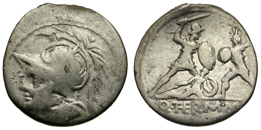 Ancient Coins - 103 BC - Roman Republic. Q. Minucius Thermus and M. F. Thermus AR Denarius / Roman Fighting Barbarian