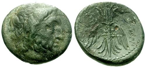 Ancient Coins - aVF/aVF Syria Seleucia and Pieria AE27 / Zeus / Thunderbolt