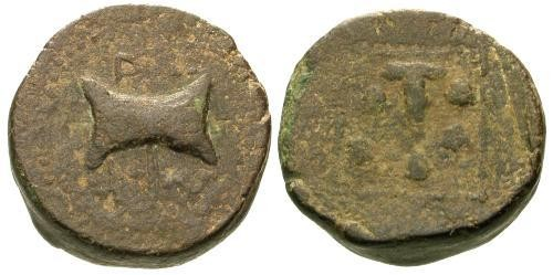Ancient Coins - gF/F Thracian King Teres III AE22 / Bipenis