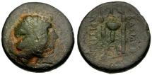 Ancient Coins - gF/gF Seleukid Kings of Syria, Antiochos III The Great Æ26 / Apollo / Tripod