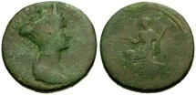 Ancient Coins - gF+/F Sabina, Wife of Hadrian Æ Sestertius / Ceres Seated