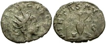 Ancient Coins - gF/gF Tetricus II Billon Antoninianus / Priestly implements