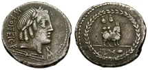 85 BC - Roman Republic.  Mn. Fonteius C.f. AR Denarius / Apollo-Vejovis / Infant Genius Riding Goat